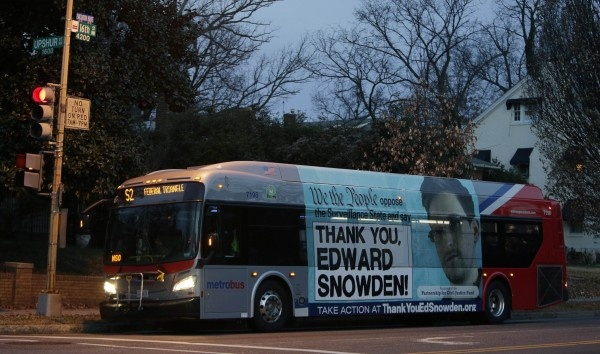bus with thankyou snowden