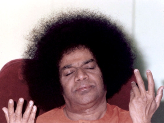Sai Baba sitting in bliss
