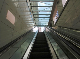 The escalator in Abu Dhabi international airport stopped a dozen or so steps from the top...